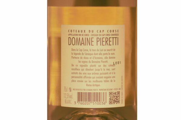 Étiquette dorsal de la bouteille de vin blanc Domaine de Pieretti