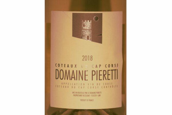 Étiquette frontale de la bouteille - Domaine de Pieretti Blanc 2018